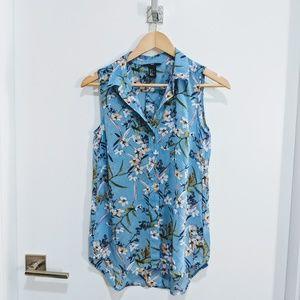 H&M blue floral sleeveless blouse